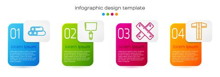 Set line Industry metallic pipe, Putty knife, Crossed ruler and T-square line. Business infographic template. Vector.