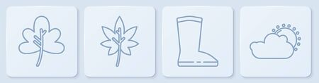 Set line Leaf or leaves, Waterproof rubber boot, Leaf or leaves and Sun and cloud weather. White square button. Vector.  イラスト・ベクター素材