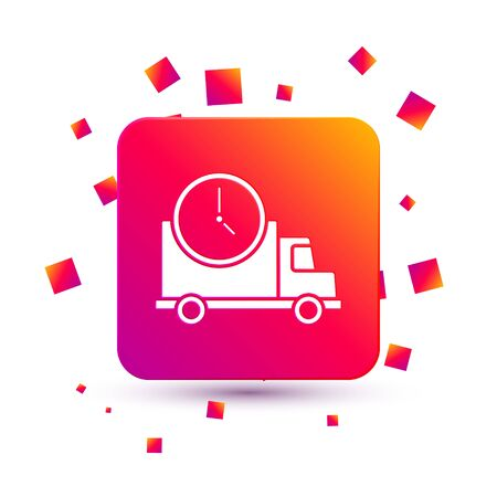 White Logistics delivery truck and clock icon isolated on white background. Delivery time icon. Square color button. Vector Illustration.