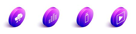 Set Isometric Music streaming service, Music equalizer, USB flash drive and Play in square icon. Vector.  イラスト・ベクター素材