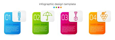 Set line Meteorology thermometer, Umbrella, Shovel and Grape fruit. Business infographic template. Vector.