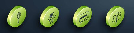 Set Isometric Honey dipper stick, Grape fruit, Speech bubble with text autumn and Leaf or leaves icon. Vector.