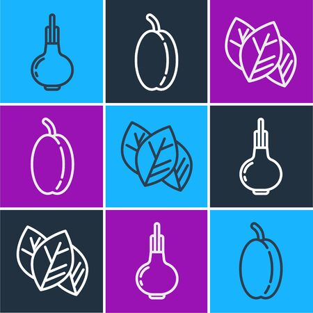 Set line Onion, Leaf or leaves and Plum fruit icon. Vector.