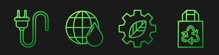 Set line Leaf plant in gear machine, Electric plug, Earth planet in water drop and Paper bag with recycle. Gradient color icons. Vector.