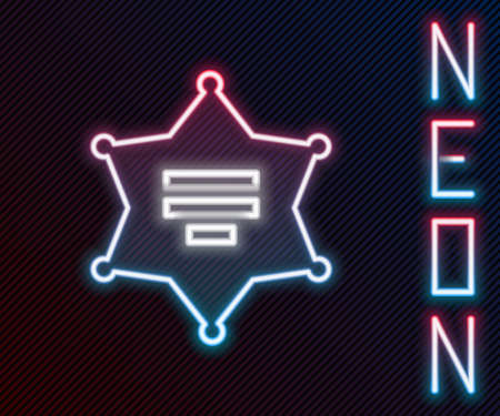 Glowing neon line Hexagram sheriff icon isolated on black background. Police badge icon. Colorful outline concept. Vector Illustration.