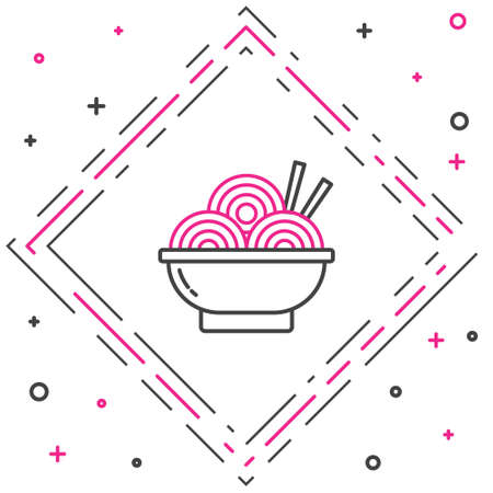 Line Asian noodles in bowl and chopsticks icon isolated on white background. Street fast food. Korean, Japanese, Chinese food. Colorful outline concept. Vector Illustration. Çizim