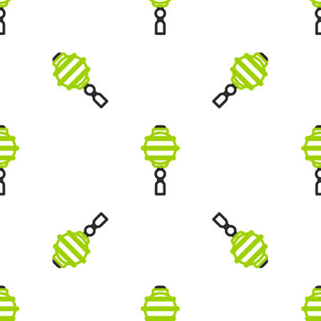 Line Chinese paper lantern icon isolated seamless pattern on white background.  Vector Illustration. 矢量图像