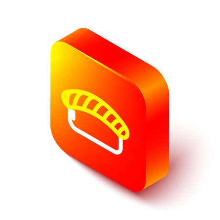 Isometric line Sushi icon isolated on white background. Traditional Japanese food. Orange square button. Vector Illustration. Ilustrace