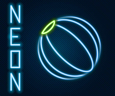 Glowing neon line Beach ball icon isolated on black background. Colorful outline concept. Vector Illustration.