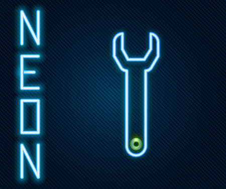 Glowing neon line Wrench spanner icon isolated on black background. Colorful outline concept. Vector Illustration. Archivio Fotografico - 150640582