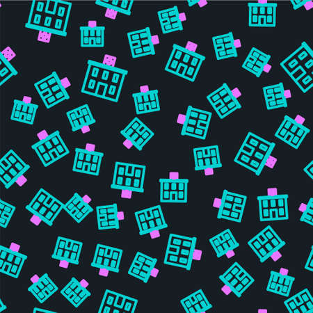 Line Medical hospital building with cross icon isolated seamless pattern on black background. Medical center. Health care.  Vector Illustration.