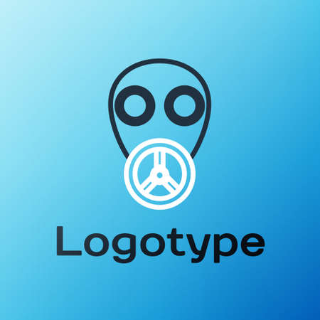 Line Gas mask icon isolated on blue background. Respirator sign. Colorful outline concept. Vector Illustration.