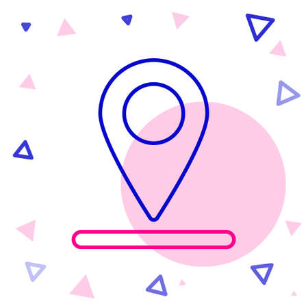 Line Map pin icon isolated on white background. Navigation, pointer, location, map, gps, direction, place, compass, search concept. Colorful outline concept Vector Illustration