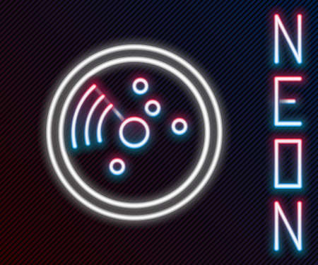 Glowing neon line Radar with targets on monitor in searching icon isolated on black background. Search system. Navy sonar. Colorful outline concept. Vector Illustration. Ilustrace