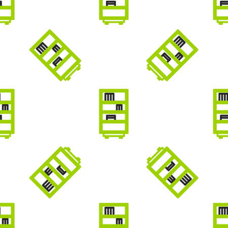 Line Library bookshelf icon isolated seamless pattern on white background.  Vector Illustration.