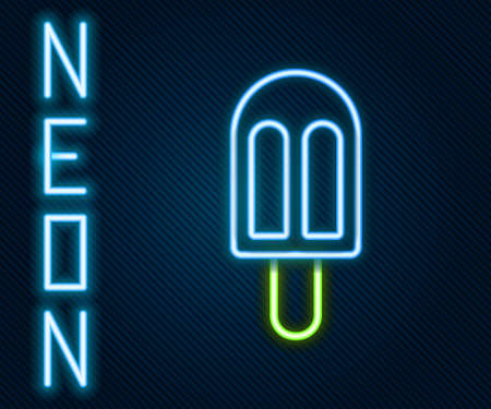 Glowing neon line Ice cream icon isolated on black background. Sweet symbol. Colorful outline concept. Vector Illustration. Stock Illustratie