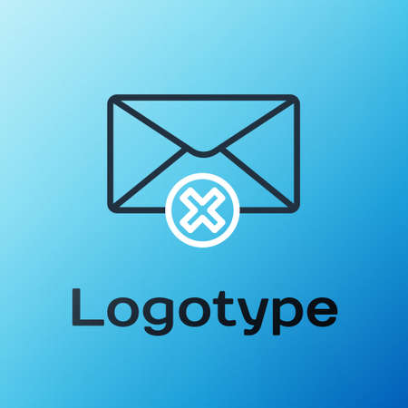 Line Delete envelope icon isolated on blue background. Delete or error letter. Cross on message. Rejected mail. Colorful outline concept. Vector Illustration. Vectores