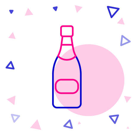 Line Champagne bottle icon isolated on white background. Colorful outline concept. Vector Illustration. Illustration