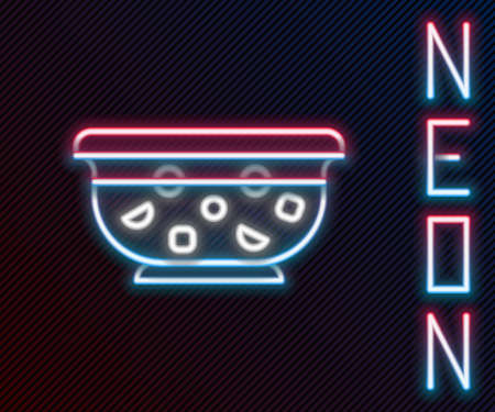 Glowing neon line Mixed punch with fresh fruits in bowl icon isolated on black background. Colorful outline concept. Vector Illustration.
