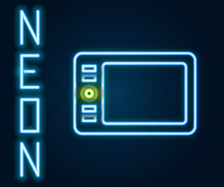 Glowing neon line Graphic tablet icon isolated on black background. Colorful outline concept. Vector Illustration.
