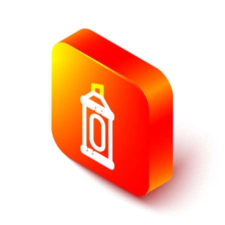 Isometric line Marker pen icon isolated on white background. Orange square button. Vector Illustration. Ilustração