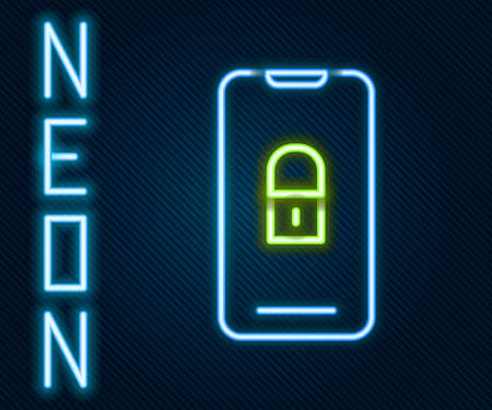 Glowing neon line Smartphone with closed padlock icon isolated on black background. Phone with lock. Mobile security, safety, protection concept. Colorful outline concept. Vector Illustration. Ilustrace