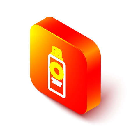 Isometric line Sunscreen spray bottle icon isolated on white background. Protection for the skin from solar ultraviolet light. Orange square button. Vector Illustration. Çizim