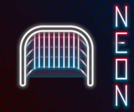 Glowing neon line Ice hockey goal with net for goalkeeper icon isolated on black background. Colorful outline concept. Vector Illustration.