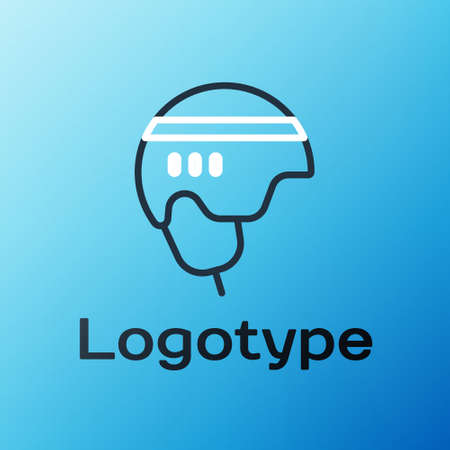 Line Hockey helmet icon isolated on blue background. Colorful outline concept. Vector Illustration.