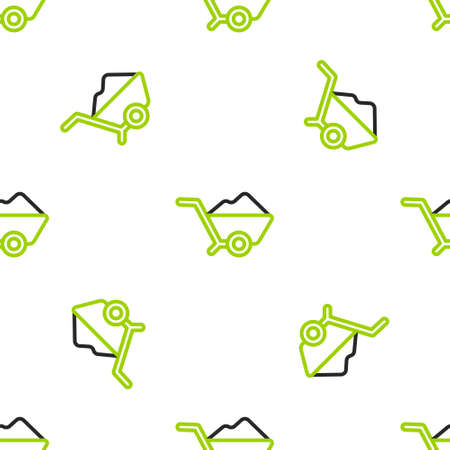 Line Wheelbarrow with dirt icon isolated seamless pattern on white background. Tool equipment. Agriculture cart wheel farm. Vector Illustration.