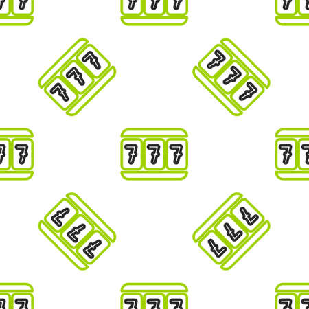 Line Slot machine with lucky sevens jackpot icon isolated seamless pattern on white background.  Vector Illustration.