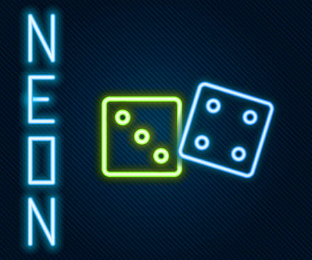 Glowing neon line Game dice icon isolated on black background. Casino gambling. Colorful outline concept. Vector Illustration.