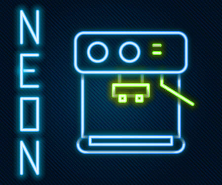 Glowing neon line Coffee machine icon isolated on black background. Colorful outline concept. Vector Illustration.