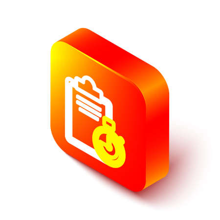 Isometric line Verification of delivery list clipboard icon isolated on white background. Orange square button. Vector Illustration. Stock Illustratie
