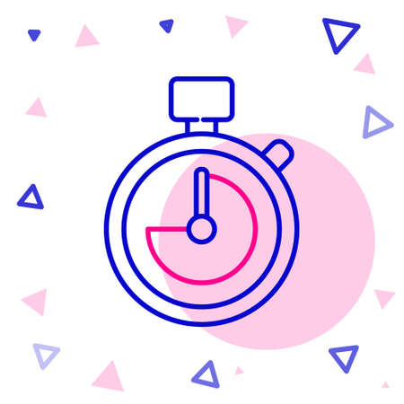 Line Stopwatch icon isolated on white background. Time timer sign. Chronometer sign. Colorful outline concept. Vector Illustration. Ilustracja