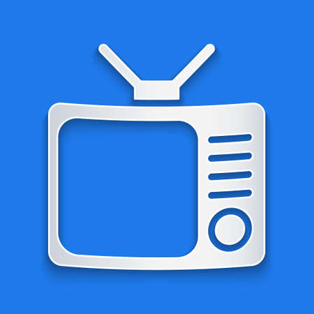 Paper cut Retro tv icon isolated on blue background. Television sign. Paper art style. Vector Illustration.