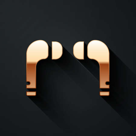 Gold Air headphones icon icon isolated on black background. Holder wireless in case earphones garniture electronic gadget. Long shadow style. Vector Illustration.