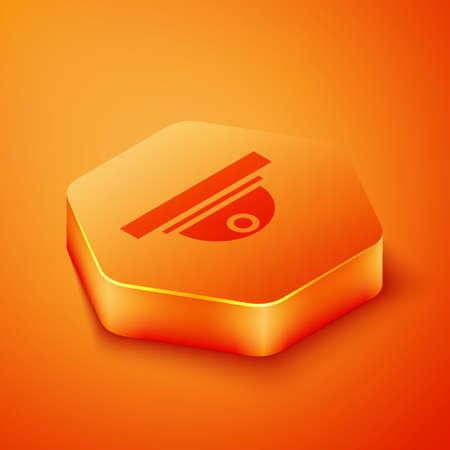 Isometric Motion sensor icon isolated on orange background. Orange hexagon button. Vector Illustration.