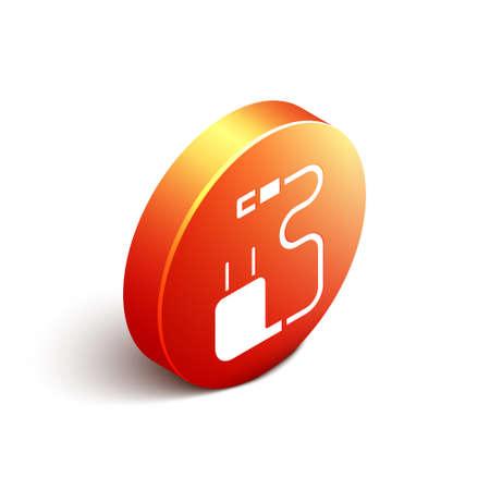 Isometric Charger icon isolated on white background. Orange circle button. Vector Illustration. Illustration