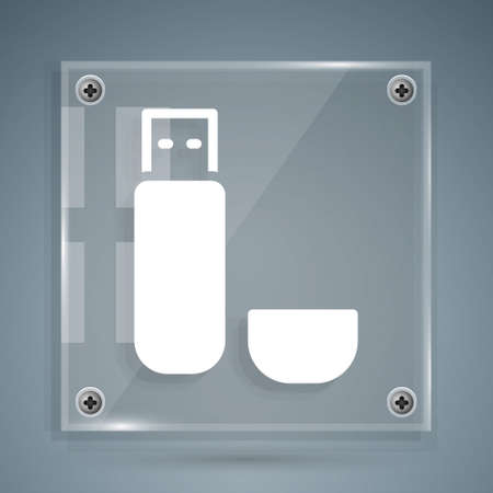 White USB flash drive icon isolated on grey background. Square glass panels. Vector Illustration.