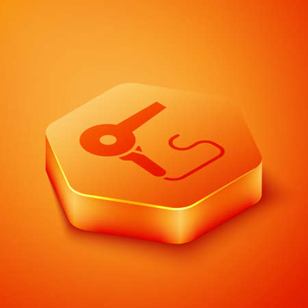 Isometric Hair dryer icon isolated on orange background. Hairdryer sign. Hair drying symbol. Blowing hot air. Orange hexagon button. Vector Illustration.