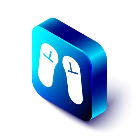 Isometric Slipper icon isolated on white background. Flip flops sign. Blue square button. Vector Illustration.