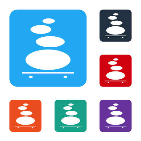 White Stack hot stones icon isolated on white background. Spa salon accessory. Set icons in color square buttons. Vector Illustration. Vettoriali