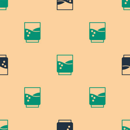 Green and black Glass with water icon isolated seamless pattern on beige background. Soda glass. Vector Illustration. Stock Illustratie