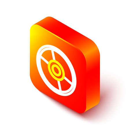 Isometric line CD or DVD disk icon isolated on white background. Compact disc sign. Orange square button. Vector Illustration.