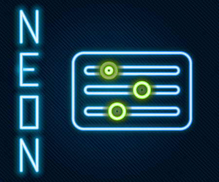 Glowing neon line Sound mixer controller icon isolated on black background. Dj equipment slider buttons. Mixing console. Colorful outline concept. Vector Illustration.