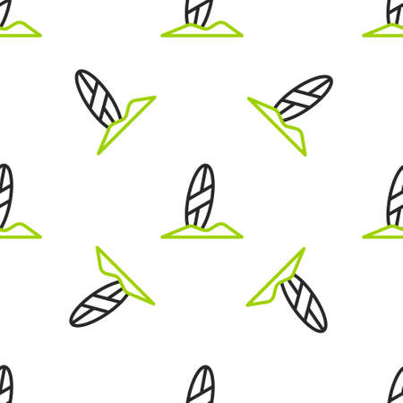 Line Surfboard icon isolated seamless pattern on white background. Surfing board. Extreme sport. Sport equipment.  Vector Illustration. 일러스트