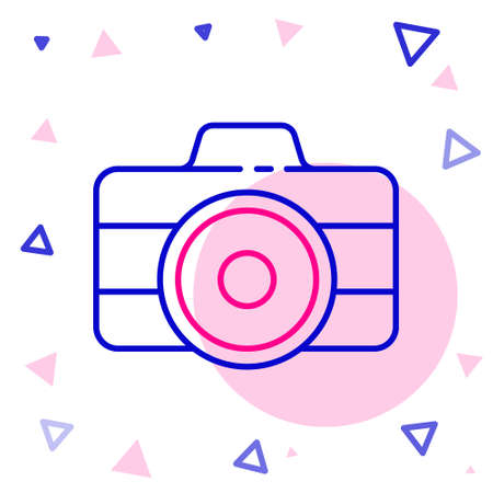 Line Photo camera icon isolated on white background. Foto camera icon. Colorful outline concept. Vector Illustration.