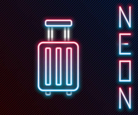 Glowing neon line Suitcase for travel icon isolated on black background. Traveling baggage sign. Travel luggage icon. Colorful outline concept. Vector Illustration. 일러스트
