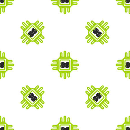 Line Computer processor with microcircuits CPU icon isolated seamless pattern on white background. Chip or cpu with circuit board. Micro processor. Vector Illustration. Stock Illustratie